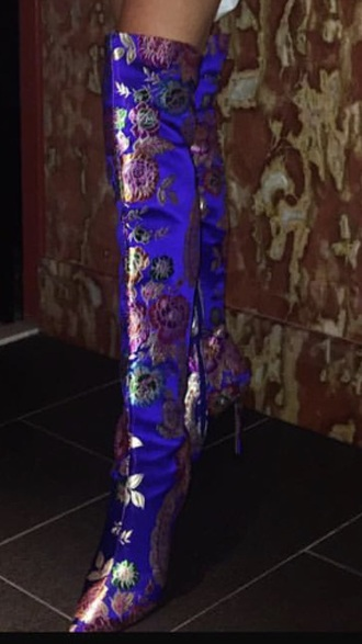 shoes boots thigh high boots blue floral print