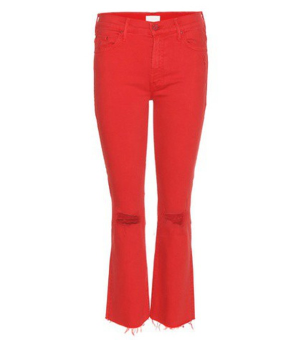 Mother The Insider Crop Fray Jeans in red
