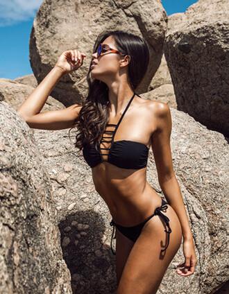 swimwear bikini black swimwear black bikini cut out bikini top