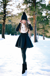southern curls and pearls,blogger,jewels,top,skirt,tights,shoes,winter outfits,beanie,ankle boots,winter scarf,tumblr,mini skirt,black skirt,opaque tights,boots,black boots,pointed boots,sweater,black sweater,scarf,knitted scarf,infinity scarf,pom pom beanie,black beanie