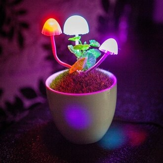 home accessory mushrooms light rainbow colorful pretty cool rad lamp