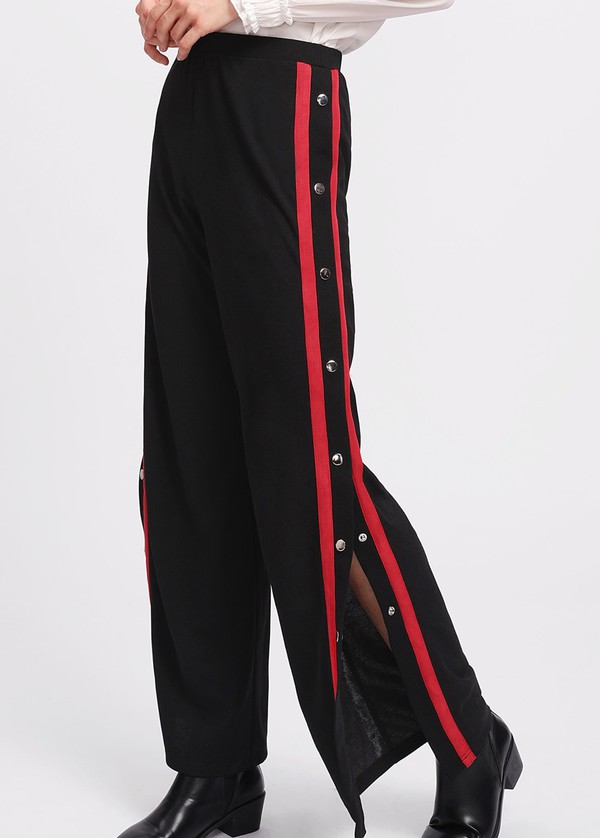 pants girly black button up tear away red track pants