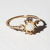 jewels,ring,gold,opal,stars,moon