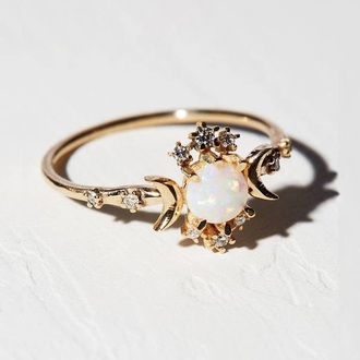 jewels ring gold opal stars moon