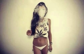 shirt t-shirt weed crop tops bikini long hair cute black and white kanabis kannabis dope cute top marijuana mary jane tank top weed shirt