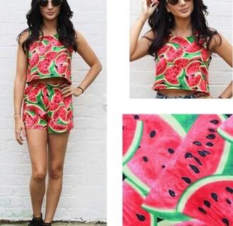 top jumpsuit watermelon print both bottoms