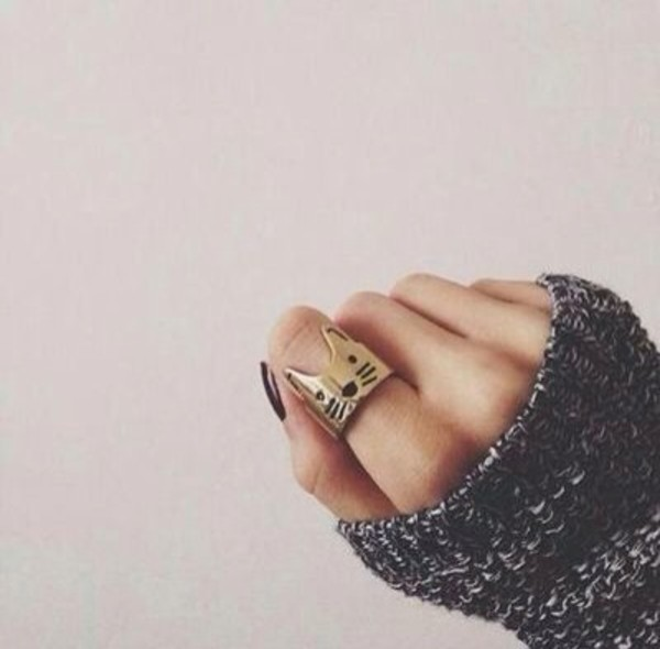 jewels sweater cats ring nail polish pullover cats girly jewelry hipster