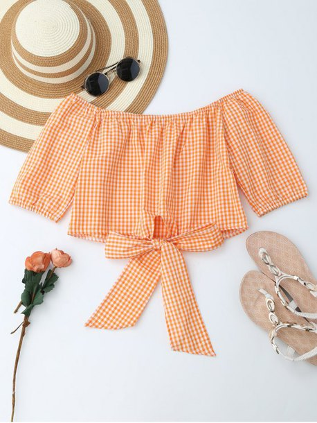 top orange fashion style girly cute summer spring crop tops zaful