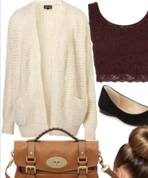 cardigan white cardigan maroon shirt
