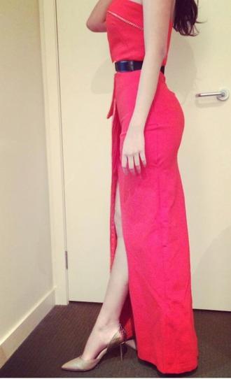 dress wrap dress slit skirt red dress evening dress