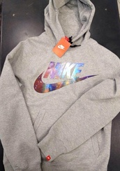 nike sweater,nike hoodie grey,sweater,grey sweater,sportswear,cozy,winter sweater,multicolor,colorful,nike,grey,galaxy print,nike sportswear