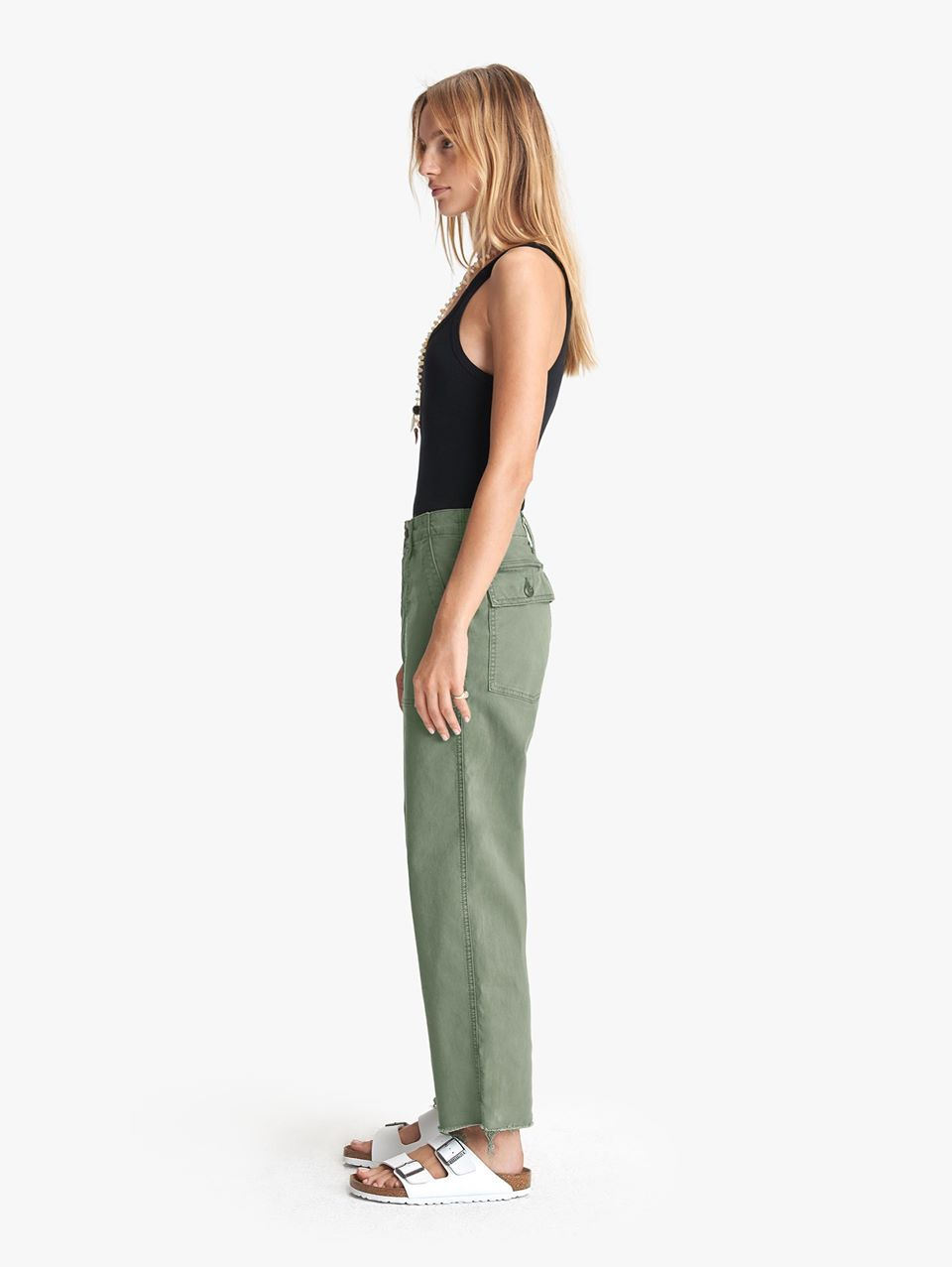 MOTHER Patch Pocket Private Ankle Fray Army Jeans Green