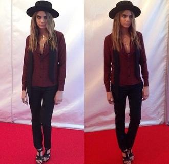 blouse cara delevingne hat shoes