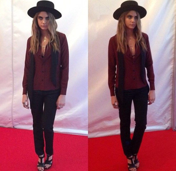 blouse cara delevingne hat shoes