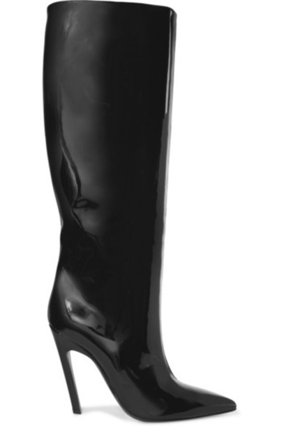 Balenciaga - Patent-leather Knee Boots - Black