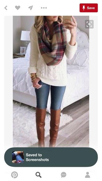 tartan scarf sweater white sweater knitted sweater scarf