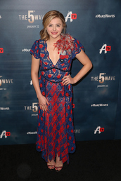 dress,chloe grace moretz,celebrity,maxi dress,floral maxi dress,floral dress,high heel sandals