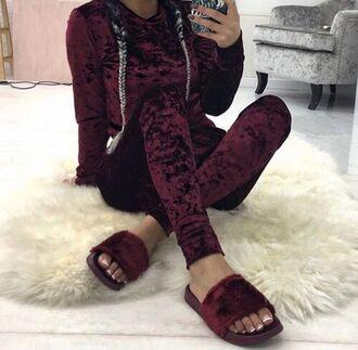 jumpsuit maroon shirt velvet burgundy suede leggings hoodie sweater pajamas