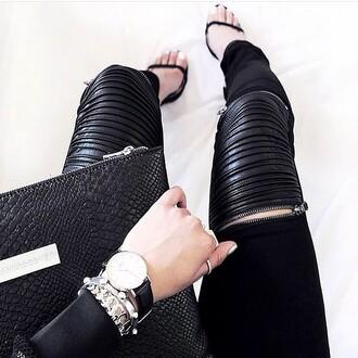 leggings maniere de voir suede zip ribbed leather black luxury blogger