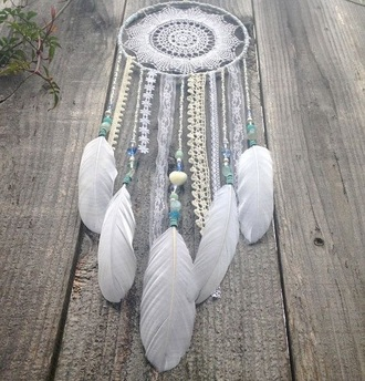 home accessory white lace dreamcatcher dreamcatcher boho beach house