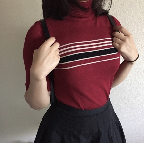 shirt red black turtleneck