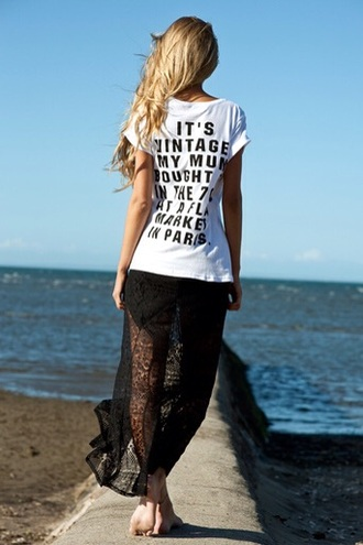 vintage white t-shirt top tank top maxi dress black blonde hair quote on it paris beach lace skirt casual streetwear streetstyle t shirt with aquote shirt