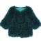 Green half sleeve cardigan crop fur coat - sheinside.com