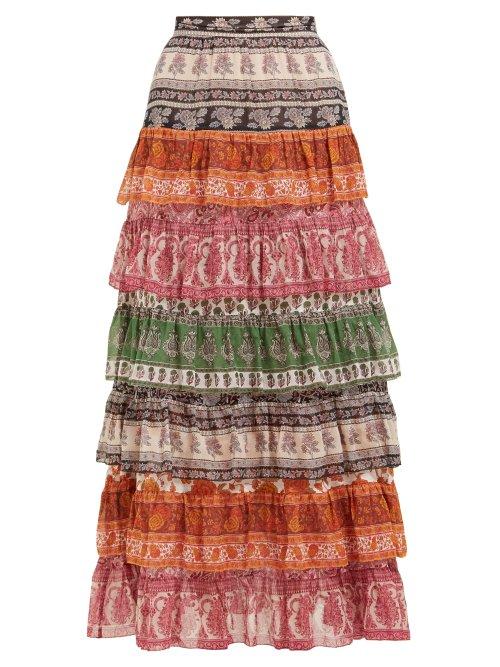 Zimmermann - Amari High Rise Tiered Cotton Blend Maxi Skirt - Womens - Multi