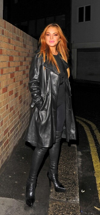 coat boots fall outfits leather lindsay lohan all black everything