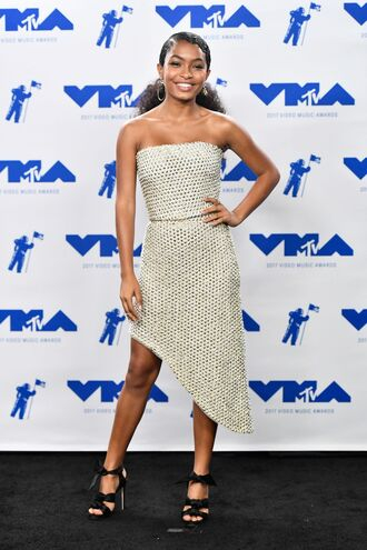 dress vma mtv yara shahidi asymmetrical asymmetrical dress strapless prom dress gown sandals top asymmetrical skirt shoes