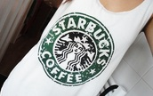 t-shirt,starbucks coffee,tank top,old looking,logo,white,green,black,girly,birthday gift