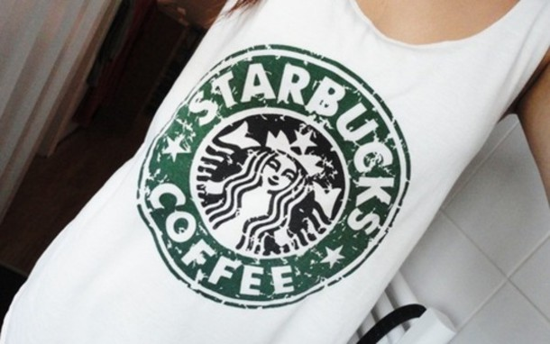 T Shirt Starbucks Coffee Tank Top Old Looking Logo White Green Black Girly Birthday Gift