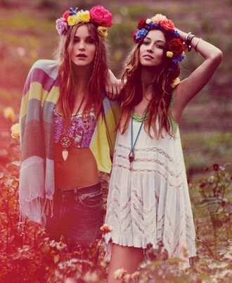 hair accessory boho multi color flowers hippe headband dress top