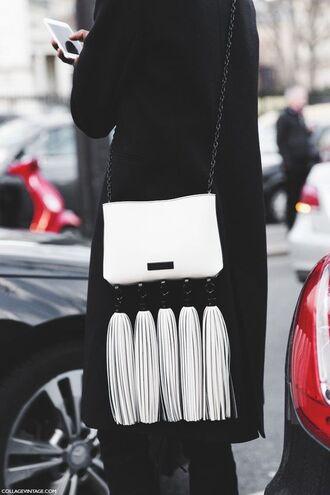 bag crossbody bag leather crossbody bag tassel tassel bag black coat shoulder bag