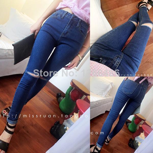 por stylenanda2014 agujero rodilla talle alto pantalones pantalones vaqueros de mujer pantalones largos en de en Aliexpress.com