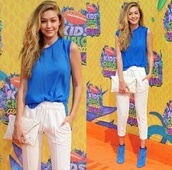 pants,gigi hadid,model,blonde hair,kca,kcas,blue,white,high heels