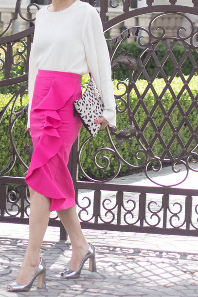 mamainheels blogger blouse skirt bag shoes sunglasses midi skirt clutch pumps high heel pumps ruffle