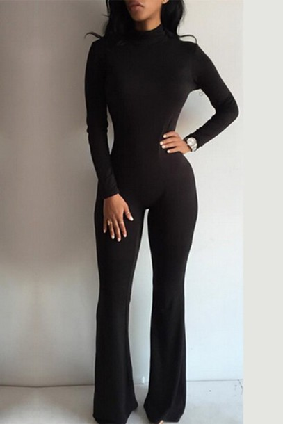 Jumpsuit: black jumpsuit, wide-leg pants, long sleeves, all black ...