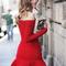 Red sexy dress - bqueen flounced hem off shoulder | ustrendy