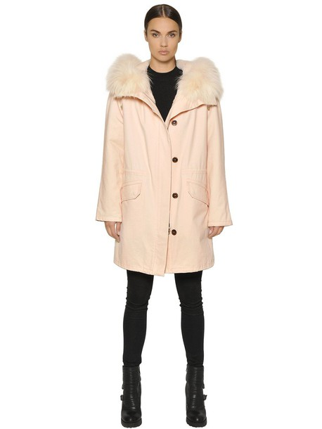 ARMY FUR coat fur cotton pink