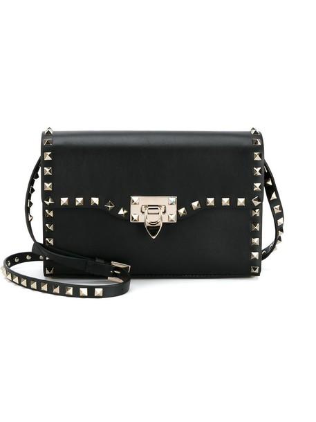 metal women bag shoulder bag leather cotton black