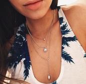 jewels,necklace,couples necklaces,double chain necklace