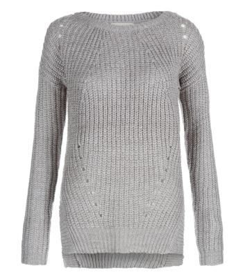 Grey Fisherman Rib Split Hem Jumper