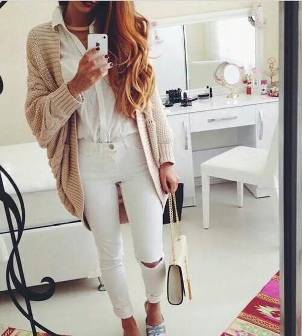 cardigan bag jeans