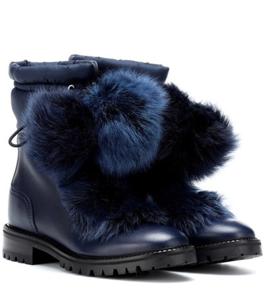 Jimmy Choo Glacie leather and fur boots in blue