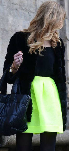 skirt neon skirt ici fashion scuba skirt icifashion party skirt yellow skirt neon green skirt green dress colors fluro neon