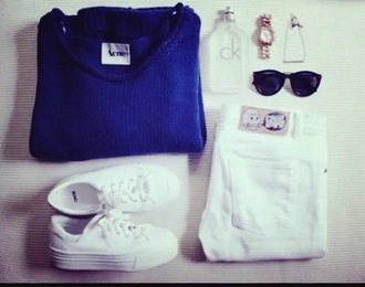 sweater sneakers platform shoes cheap monday white white jeans jeans denim highwaisted jeans acne studios knitwear shades sunglasses necklace jewels watch blue sweater