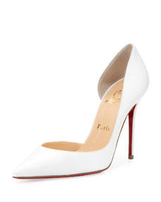 Iriza Red Sole Half-dOrsay Pump, White