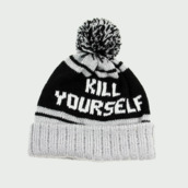 white hat,pom pom beanie,kill yourself,hat