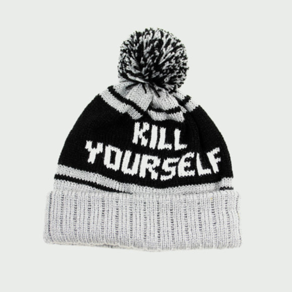 white hat pom pom beanie kill yourself